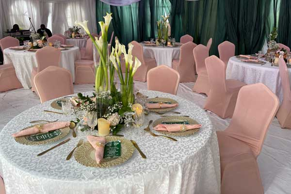decor table setup with center piece, glasses, charger plates and napkins for an introduction ceremony